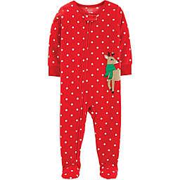 carter's® Reindeer Polka Dot Footed Pajama in Red