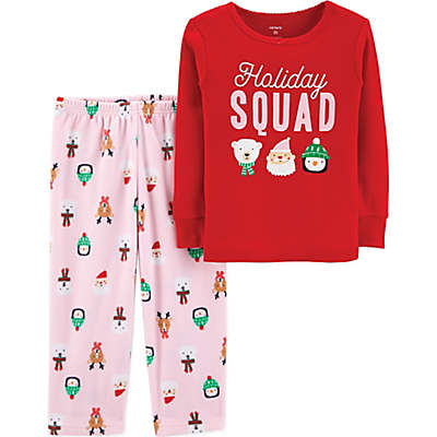 """carter's® 2-Piece """"Holiday Squad"""" Pajama Top and Pant Set in Red"""