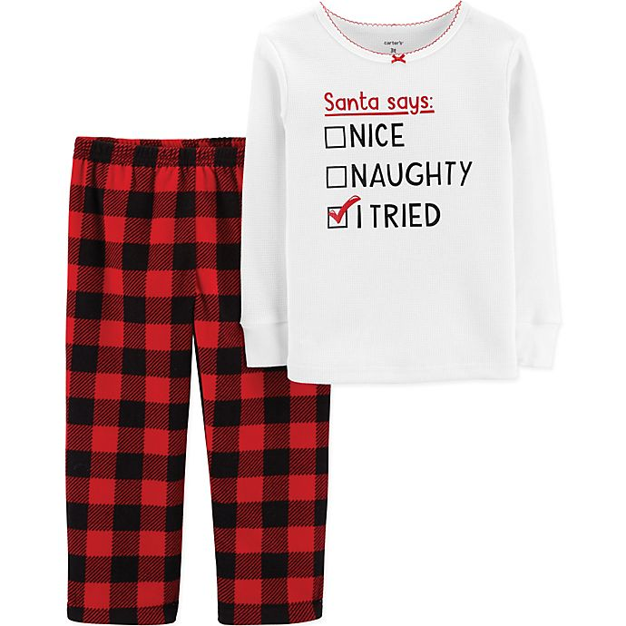 f27df28f5438 carter s® 2-Piece Christmas Thermal   Fleece PJs in Red