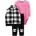 carter's® Size 3M 3-Piece Plaid Panda Vest, Bodysuit and Pant Set in Black