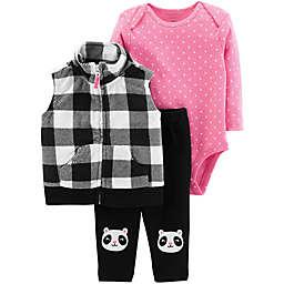 carter's® 3-Piece Plaid Panda Vest, Bodysuit and Pant Set in Black