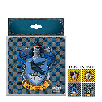 Warner Brothers Harry Potter House Crests 4 Piece Glass Coaster Set