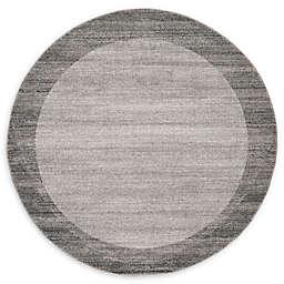 Unique Loom Del Mar 6' Round Area Rug in Light Grey
