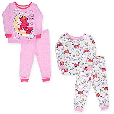 Sesame Street® 4-Piece Elmo in the Moon Pajama Set in Pink