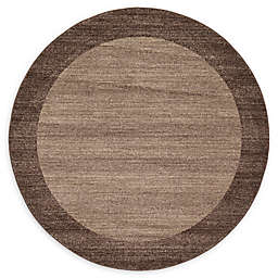 Unique Loom Del Mar 6' Round Power-Loomed Area Rug in Light Brown
