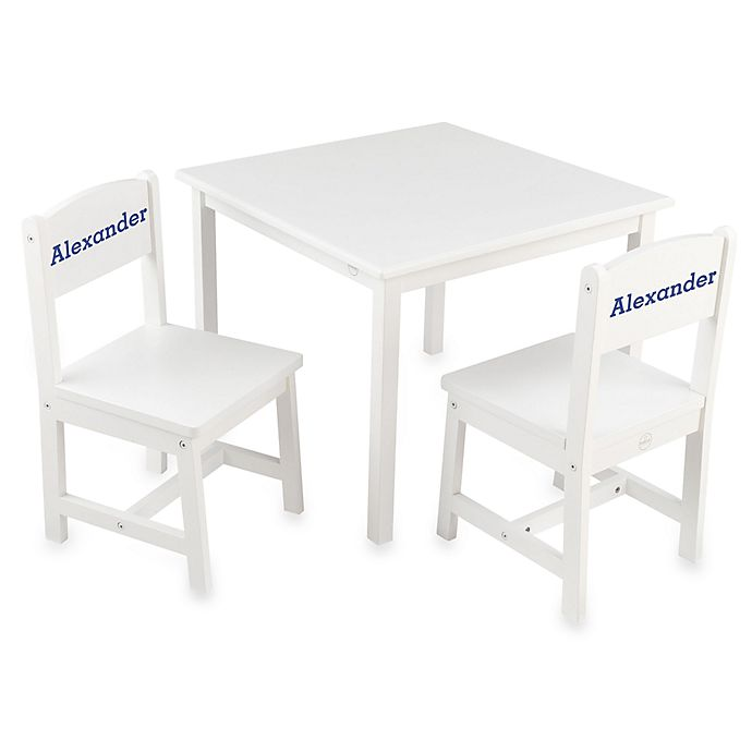 Fine Kidkraft Personalized Alexander Boys Aspen Table Chair Set In White Blue Lettering Alphanode Cool Chair Designs And Ideas Alphanodeonline