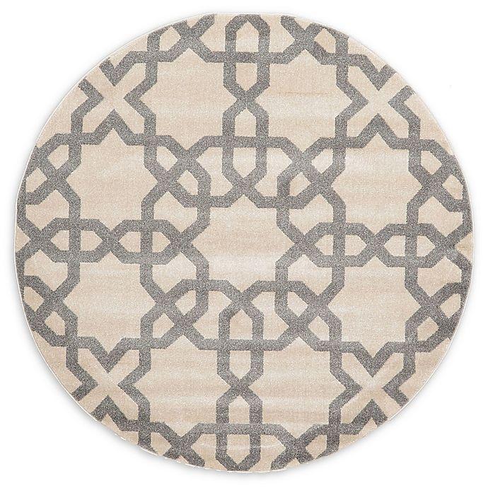 Alternate image 1 for Unique Loom Charlotte Trellis 6' Round Area Rug in Beige