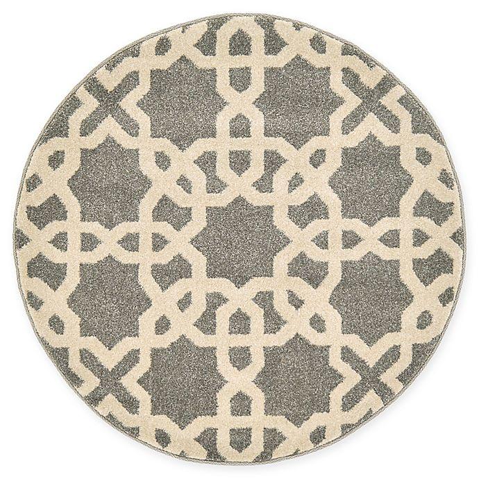 Alternate image 1 for Unique Loom Trellis 3' Round Accent Rug in Grey