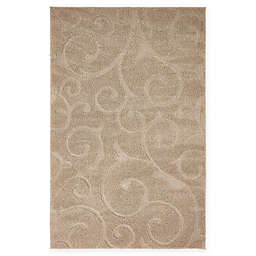 Unique Loom Floral Shag Rug in Beige