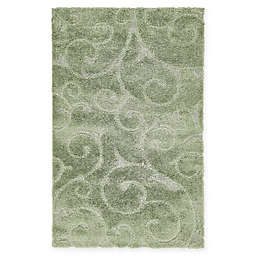 Unique Loom Floral Shag Rug in Green