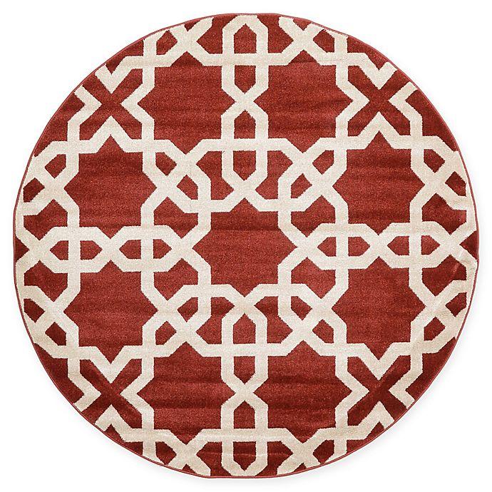 Alternate image 1 for Unique Loom Trellis 6' Round Area Rug in Dark Terracotta