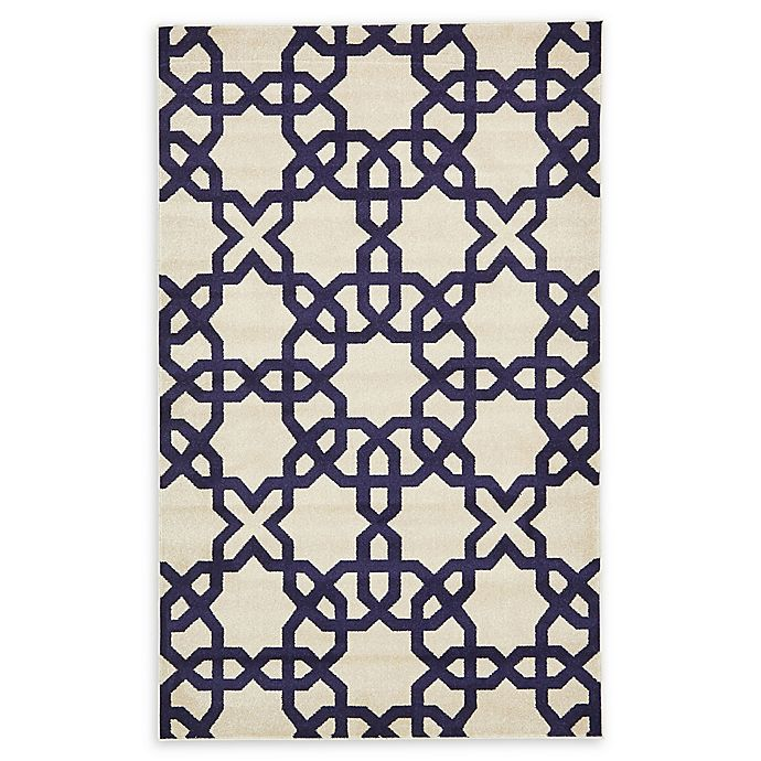 Alternate image 1 for Unique Loom Trellis 5' x 8' Area Rug in Beige/Navy Blue