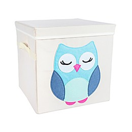Design Imports Owl Storage Cube with Lid in Beige