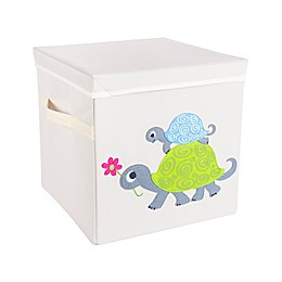 Design Imports Turtle Storage Cube with Lid in Beige