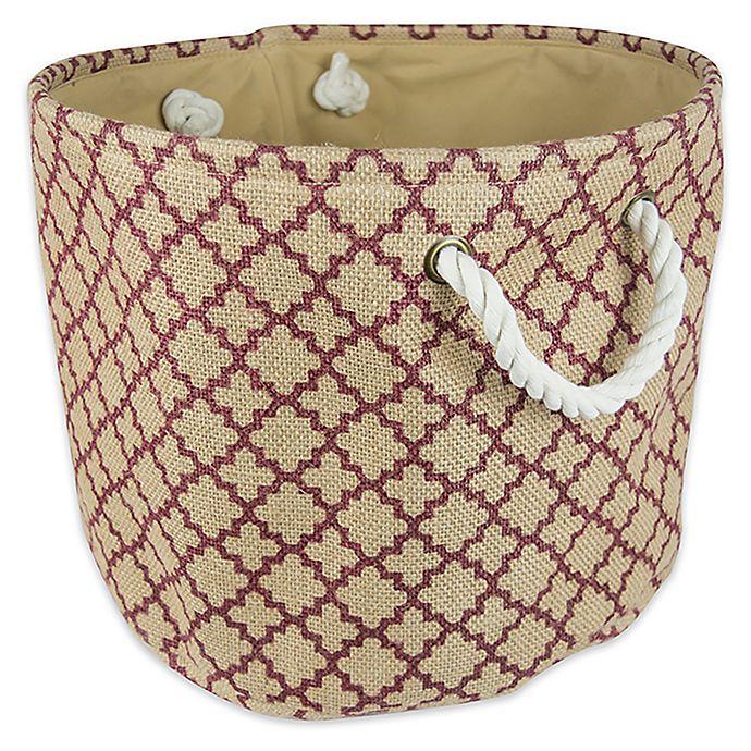 Alternate image 1 for Design Imports Small Round Burlap Lattice Storage Bin in Wine