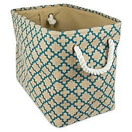 Design Imports Burlap Lattice Storage Bin