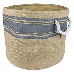 Design Imports Round Burlap Stripe Storage Bin