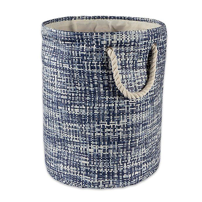 Alternate image 1 for Design Imports Tweed Medium Round Paper Storage Bin in Blue