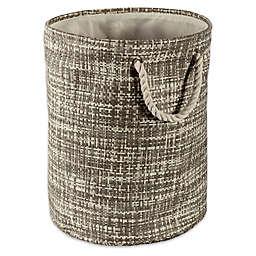 Design Imports Tweed Large Round Paper Storage Bin in Grey
