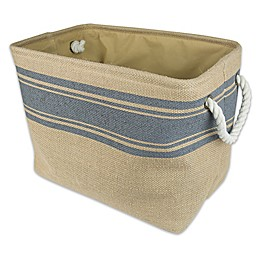 Design Imports Striped Border Burlap Storage Bin
