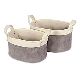 Design Imports 2-Piece Canvas Bin Set in Grey