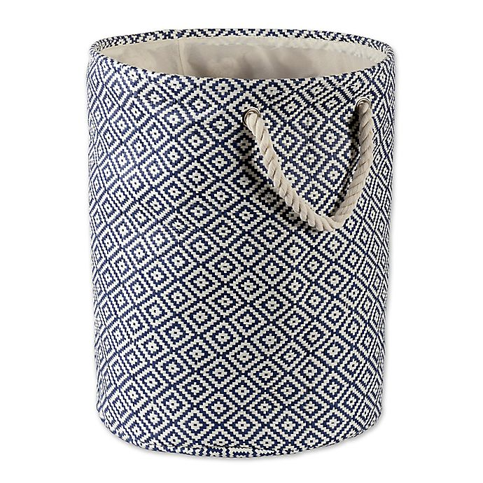 Alternate image 1 for Design Imports Geometric Diamonds Medium Round Paper Storage Bin in Blue