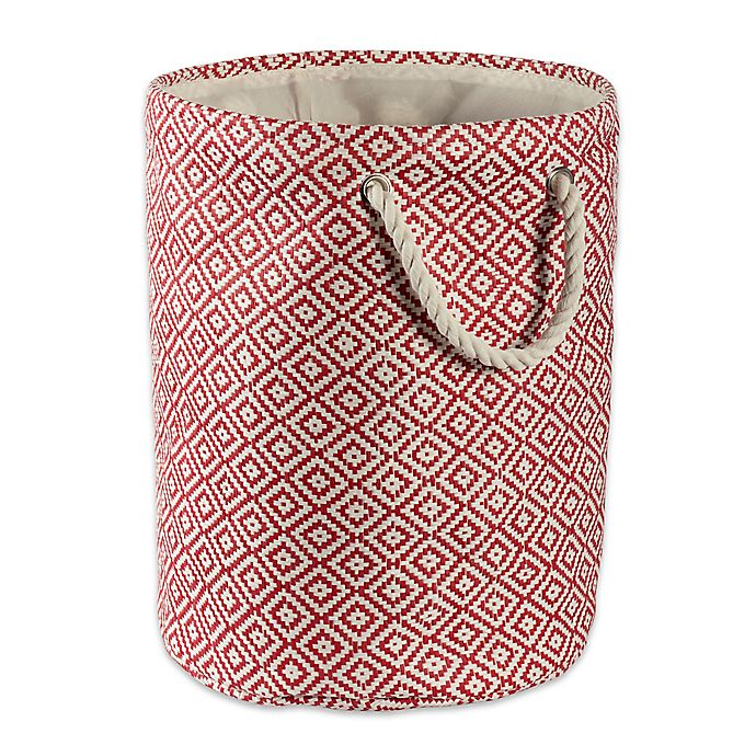 Alternate image 1 for Design Imports Geometric Diamonds Medium Round Paper Storage Bin in Brown