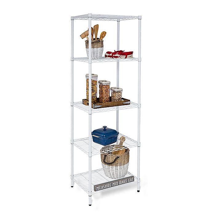 Alternate image 1 for Honey-Can-Do® 5-Tier Adjustable Shelving Unit in White