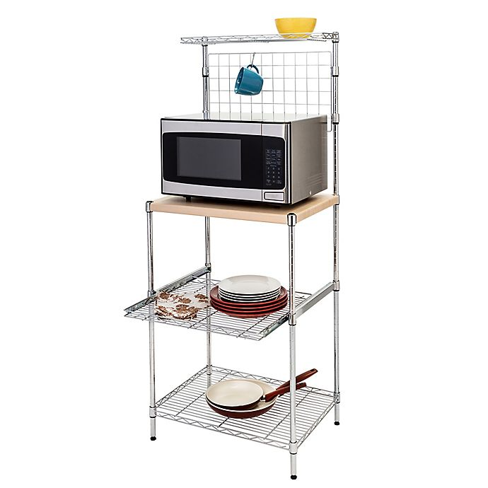 Honey-Can-Do® 4-Tier Baker's Rack with Storage in Chrome
