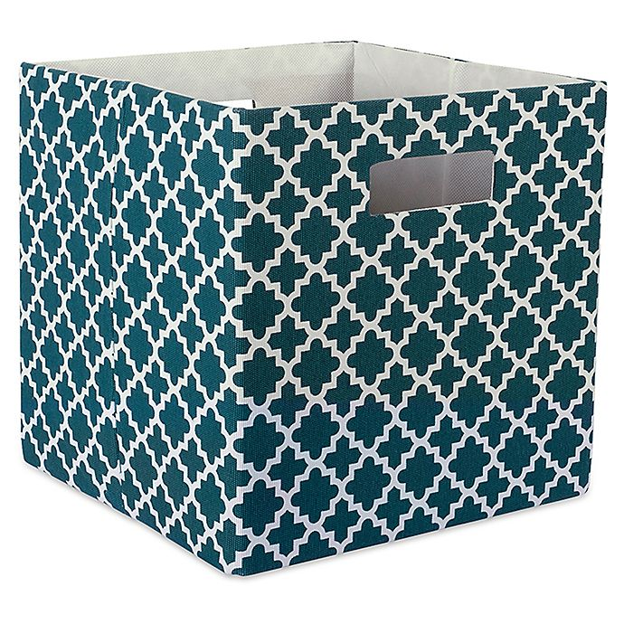 Alternate image 1 for Design Imports Lattice 11-Inch Storage Cube in Teal