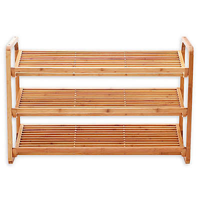New Ridge Home Goods® 3-Tier Bamboo Shoe Rack in Natural