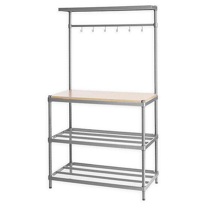 Alternate image 1 for Design Ideas® MeshWorks 3-Shelf Utility Storage Rack with Wooden Top