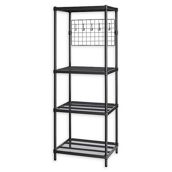 Alternate image 1 for Design Ideas® MeshWorks 4-Shelf Metal Shelving Unit with Grid in Black