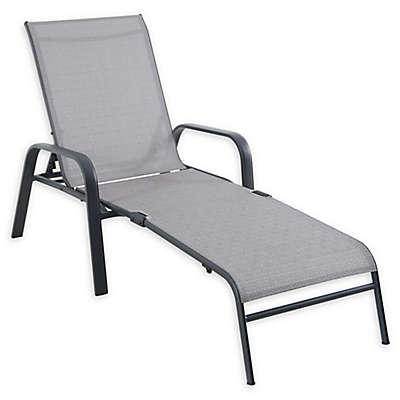 Never Rust Sling Chaise Lounge Chair in Grey