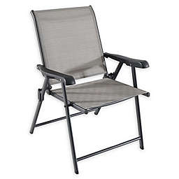 Never Rust Aluminum Folding Sling Chair in Grey