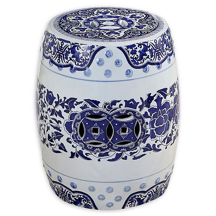 Cool Julian Floral Ceramic Garden Stool In Blue Bed Bath Beyond Caraccident5 Cool Chair Designs And Ideas Caraccident5Info