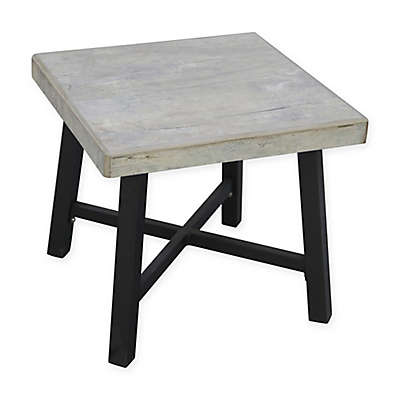 "Faux Concrete 18"" Square Side Table in Beige"