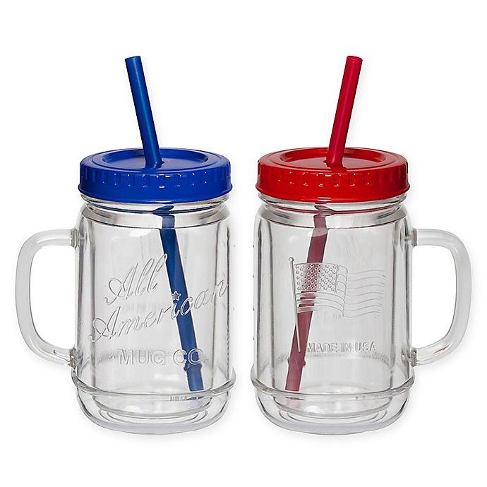 Alternate image 1 for CreativeWare® Acrylic All American Mason Jar Mugs (Set of 2)