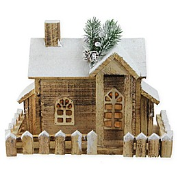 12-Inch Pre-Lit Rustic Wood Cabin Holiday Decor