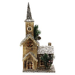 17-Inch LED Rustic Wooden Church