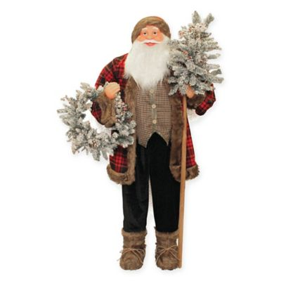 5 Foot Standing Santa Claus Christmas Figure With Flocked