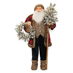 5-Foot Standing Santa Claus Christmas Figure with Flocked Alpine Tree and Wreath
