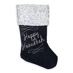 Northlight 19-Inch Hanukkah Stocking in Navy/Silver