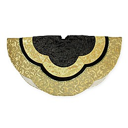 Northlight Embossed Christmas Tree Skirt in Black/Gold