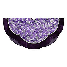 48-Inch Floral Christmas Tree Skirt in Purple/Silver