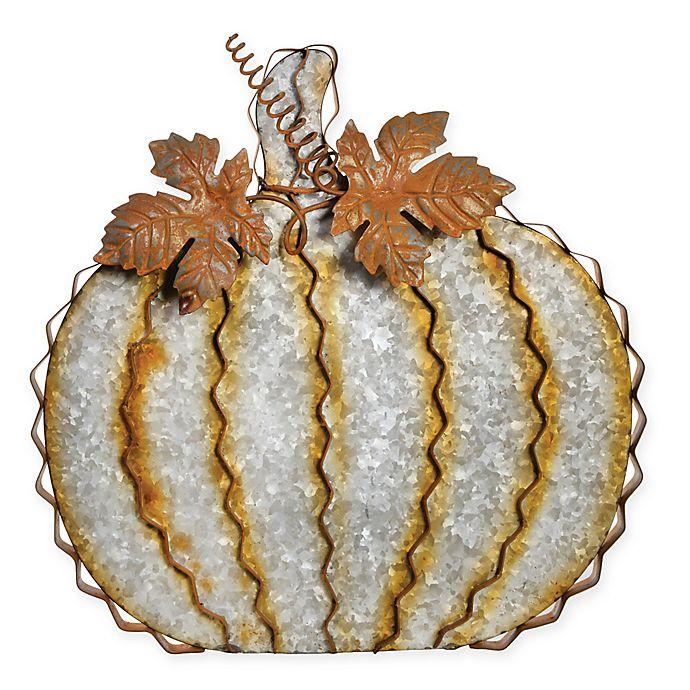 Alternate image 1 for Boston International 14-Inch Galvanized Leafy Pumpkin