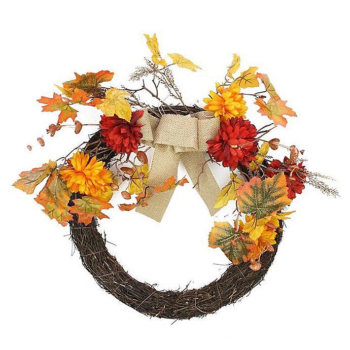 Alternate image 1 for 20-Inch Harvest Mums Flower Wreath in Orange/Red