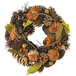 13.25-Inch Pine Cone Gourd Artificial Wreath