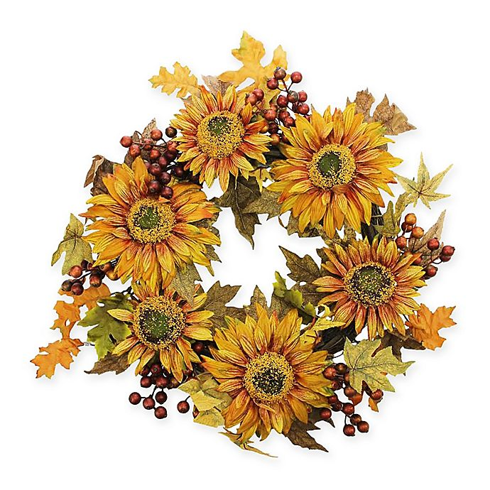 Alternate image 1 for Vickerman 24-Inch Artificial Autumn Harvest Sunflower Berry Wreath