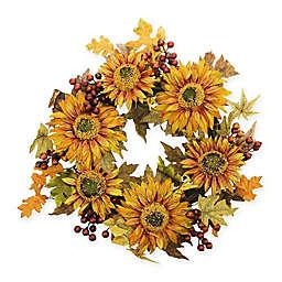 Vickerman 24-Inch Artificial Autumn Harvest Sunflower Berry Wreath